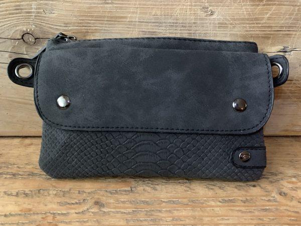Zwart heuptasje schoudertasje